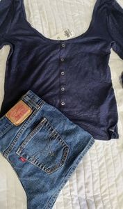 Hollister long sleeve crop top and Levi's shorts